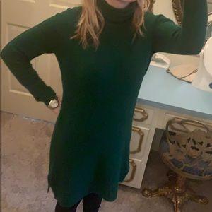 J. Crew green turtleneck sweater dress